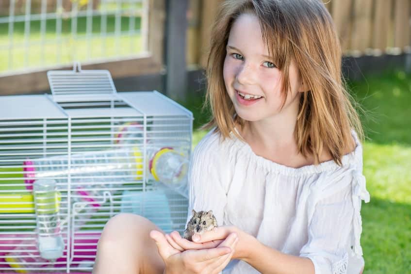 Menina segurando hamster.