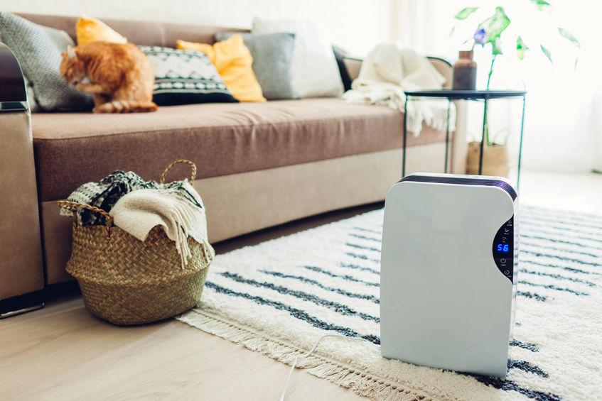 Purificador de ar em sala, ao lado de sofá.