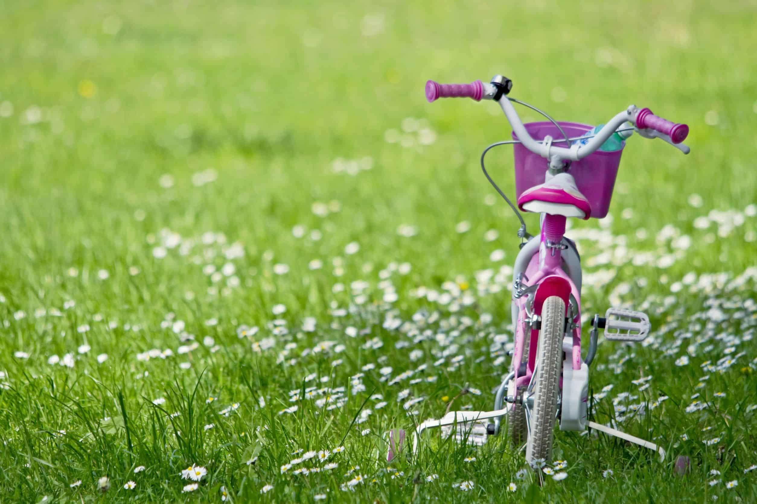 Bicicleta infantil de menina parada na grama