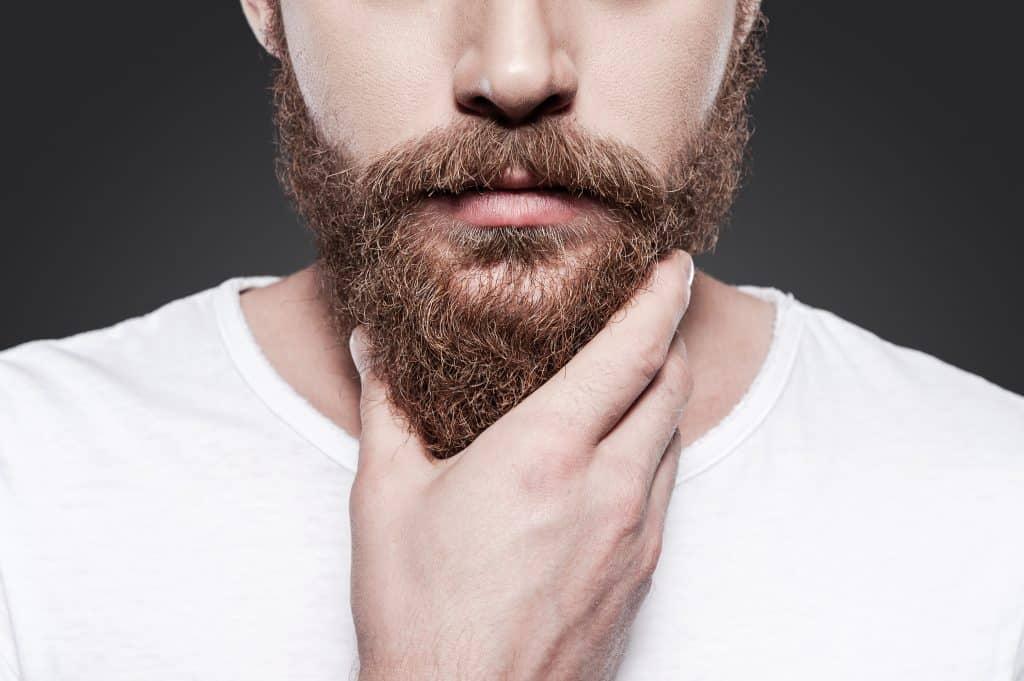 Imagem de homem segurando sua barba, que é comprida.
