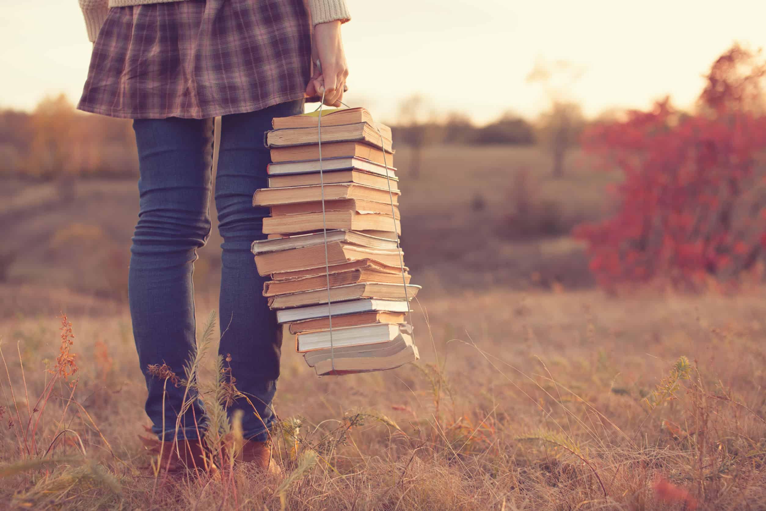 Imagem de menina segurando pilha de livros.