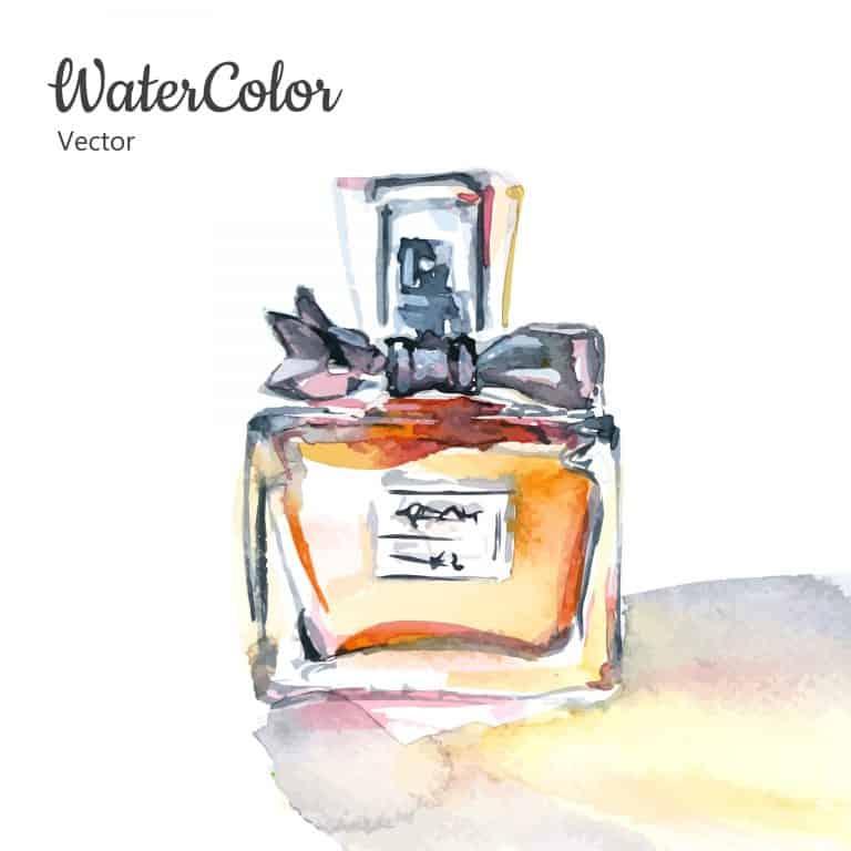 Desenho de um frasco de perfume em aquarela