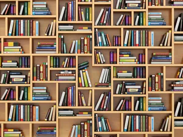 47858355 – education concept. books and textbooks on the bookshelf. 3d