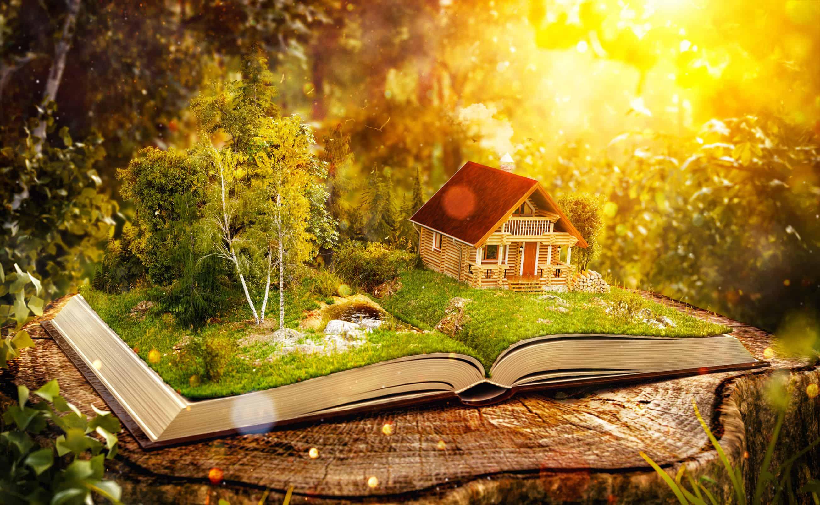 Imagem de livro aberto com casa e floresta.