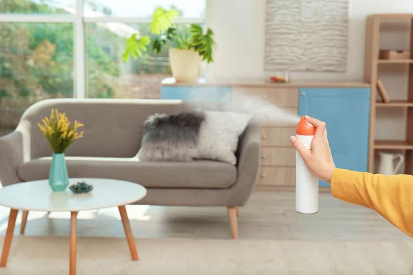 Imagem de pessoa passando difusor de aromas em sala de estar.