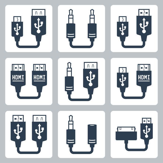 Desenho de vários tipos de adaptadores hdmi