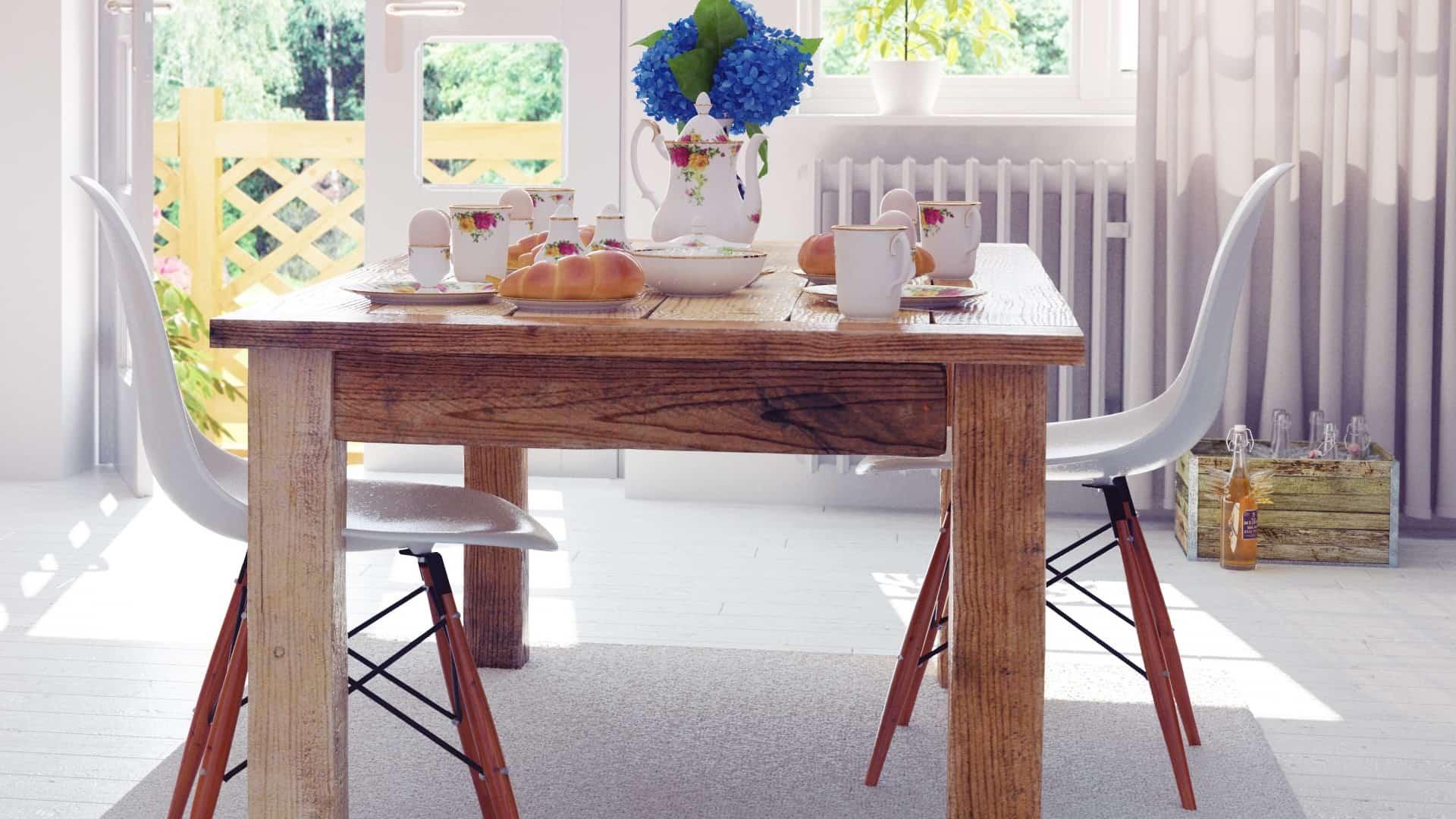 Mesa de jantar e cadeiras.
