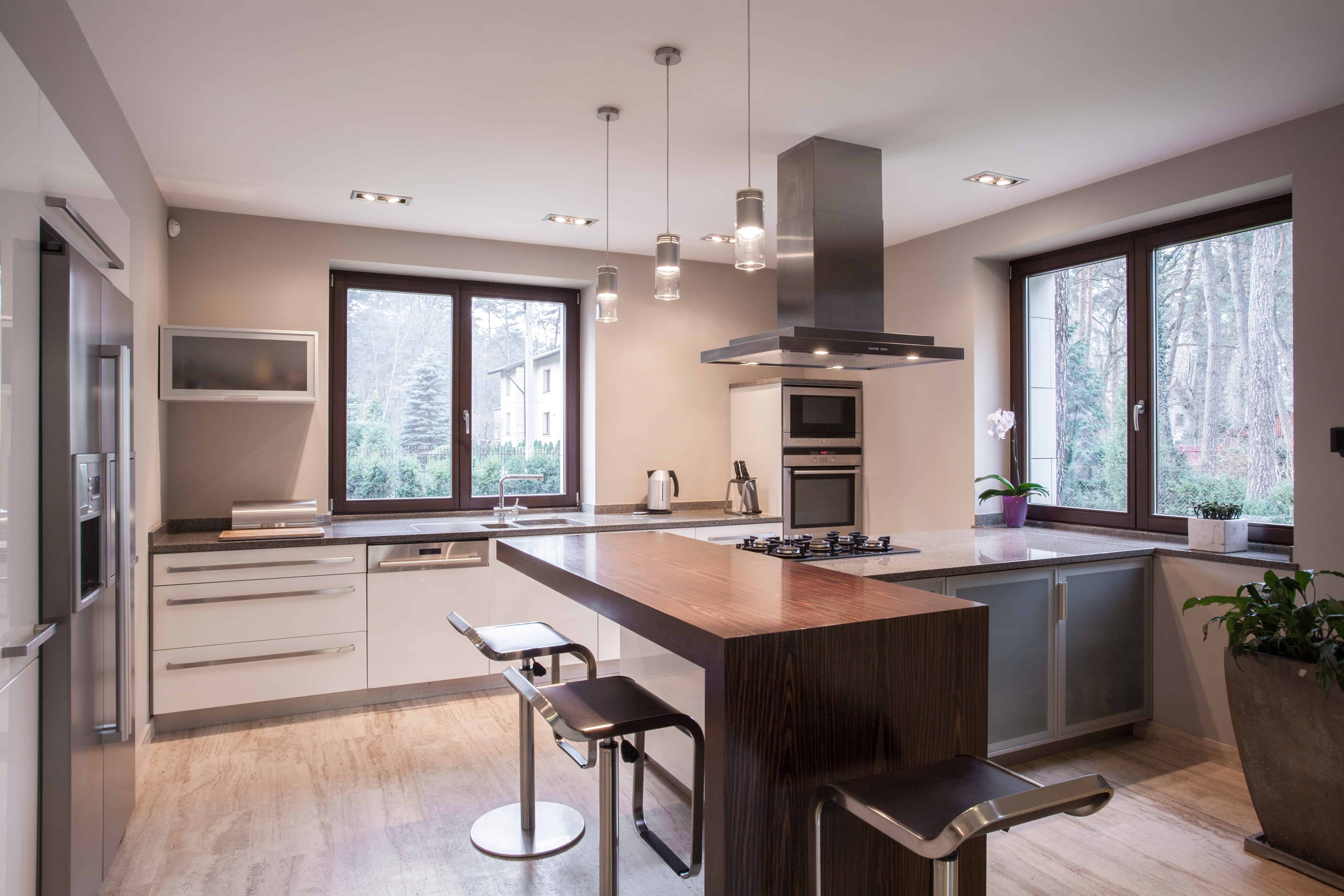 Horizontal view of spacious modern kitchen interior