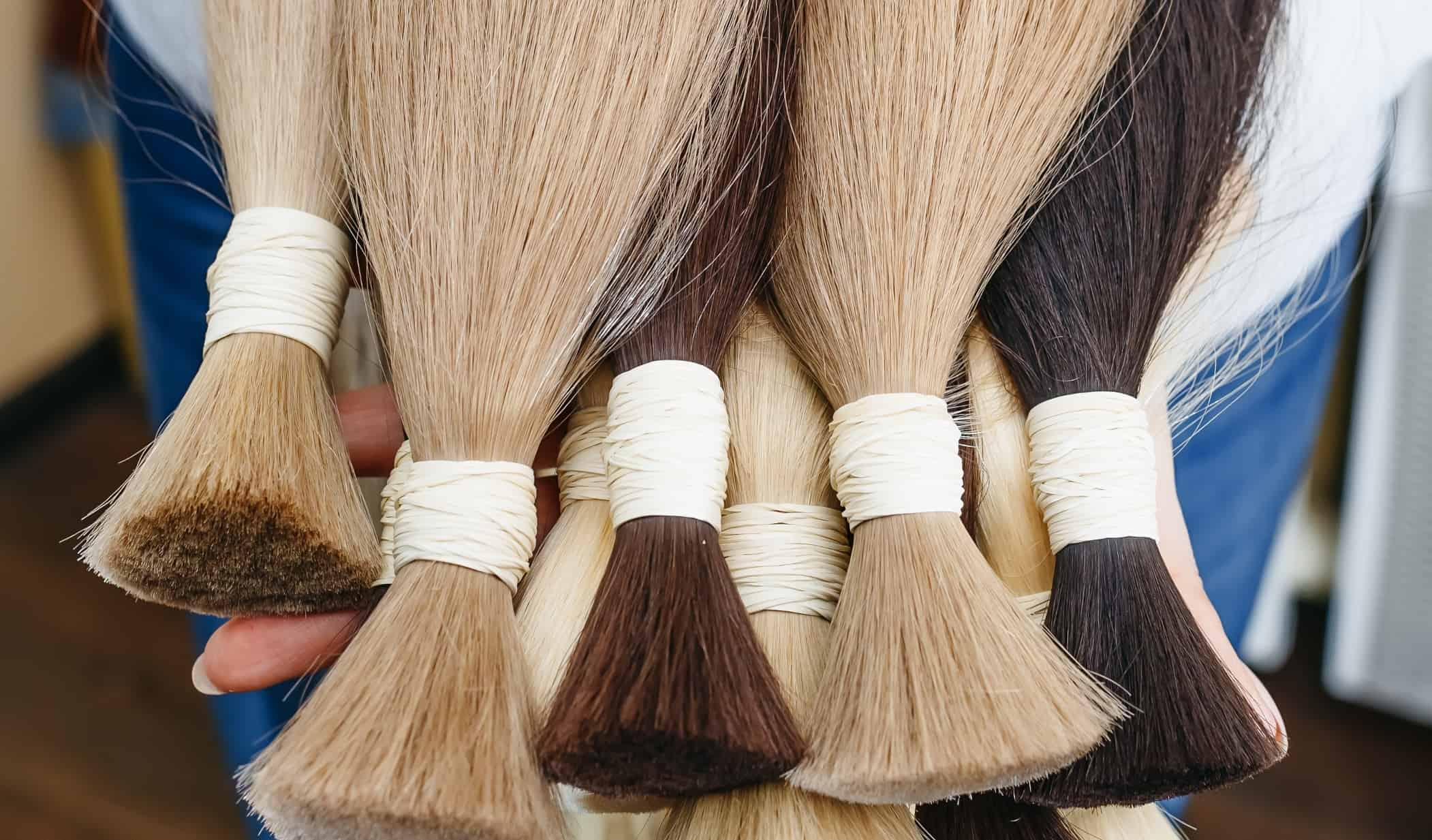 Imagem de mechas de cabelo para aplique.