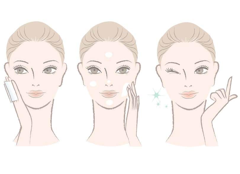 Desenho de um rosto feminino mostrando a aplicação de creme facial