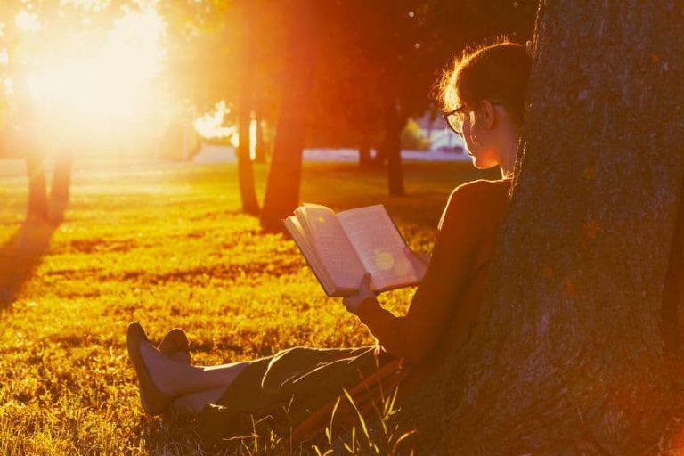Mulher sentada em parque lendo livro com por do sol ao fundo.