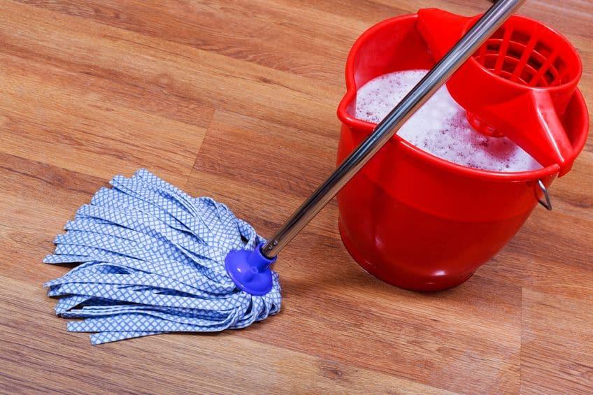 Imagem de mop e balde no chão.
