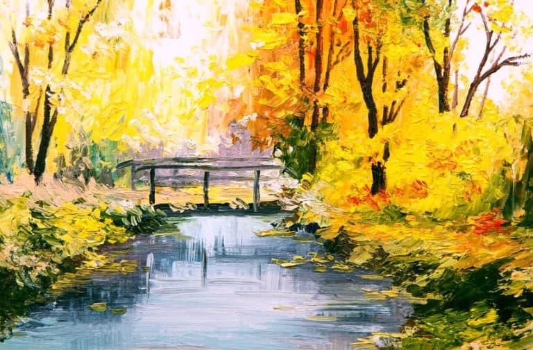 Quadro pintado com paisagem.