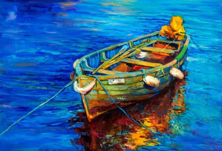 Quadro pintado com tinta a óleo com desenho de barco.
