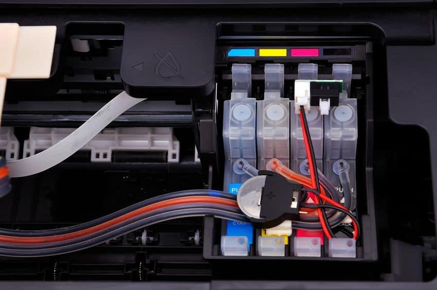 Imagem de tanques de tinta de impressora.