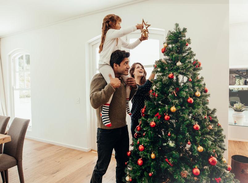 família fazendo a árvore de natal