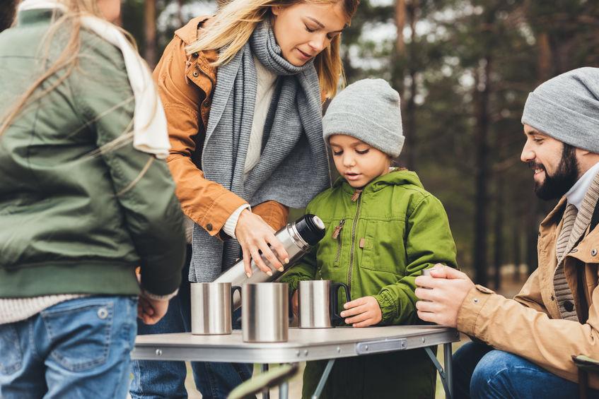 family having coffee