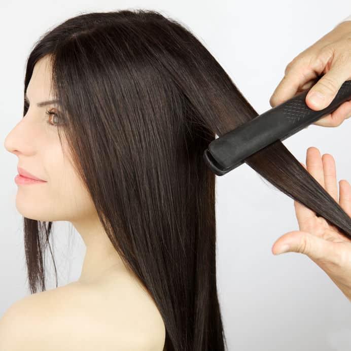 flat iron in hair