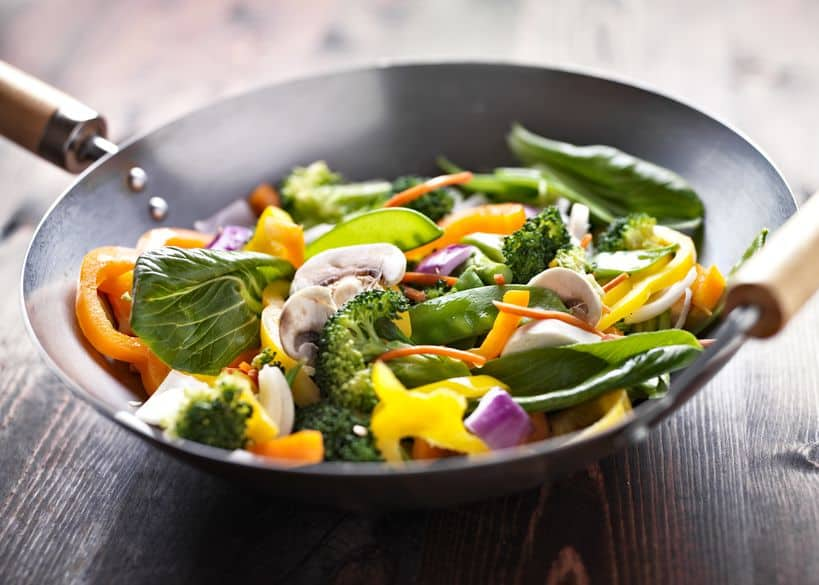 different types of vegetables in wok