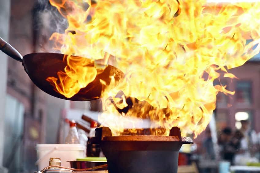 cooking in panela wok