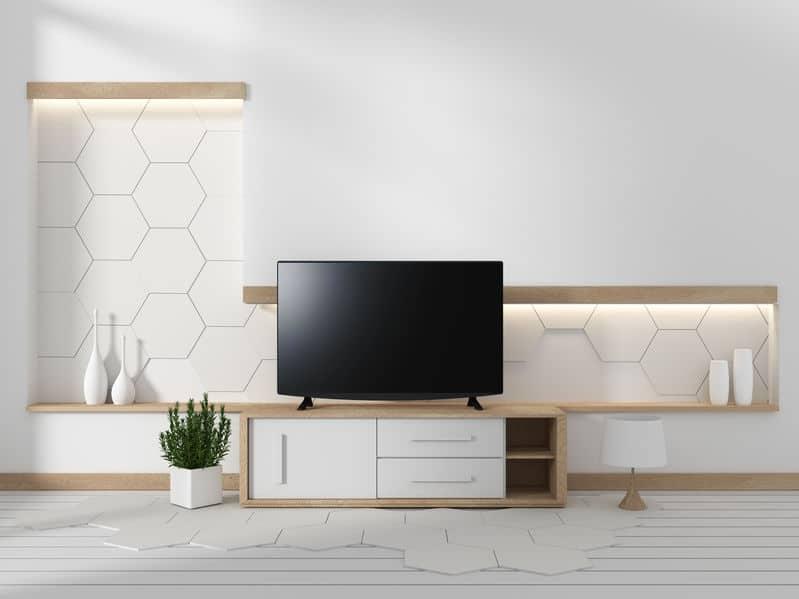 Tv in white living room