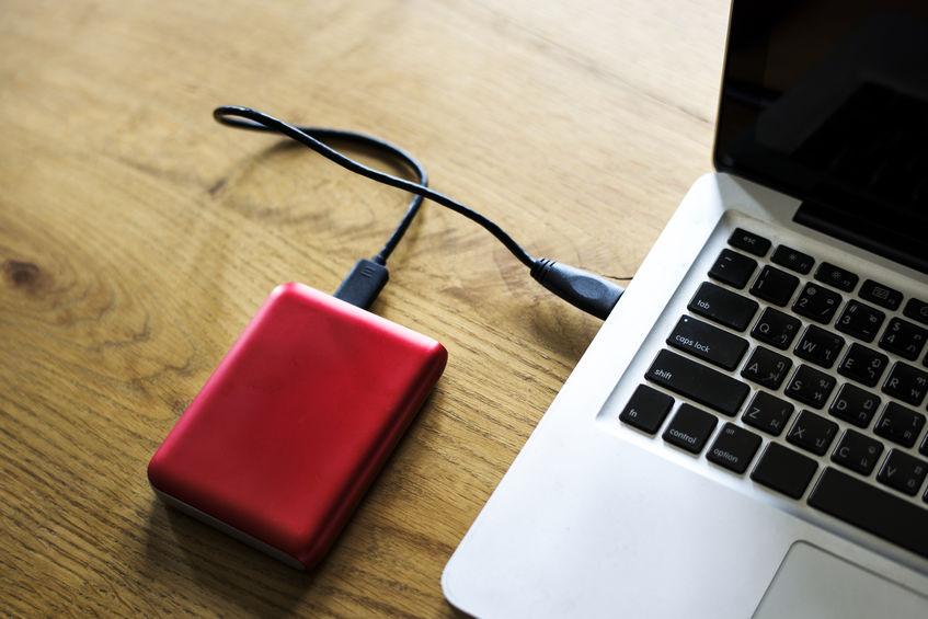 Unidade de disco rígido externa conectar ao laptop