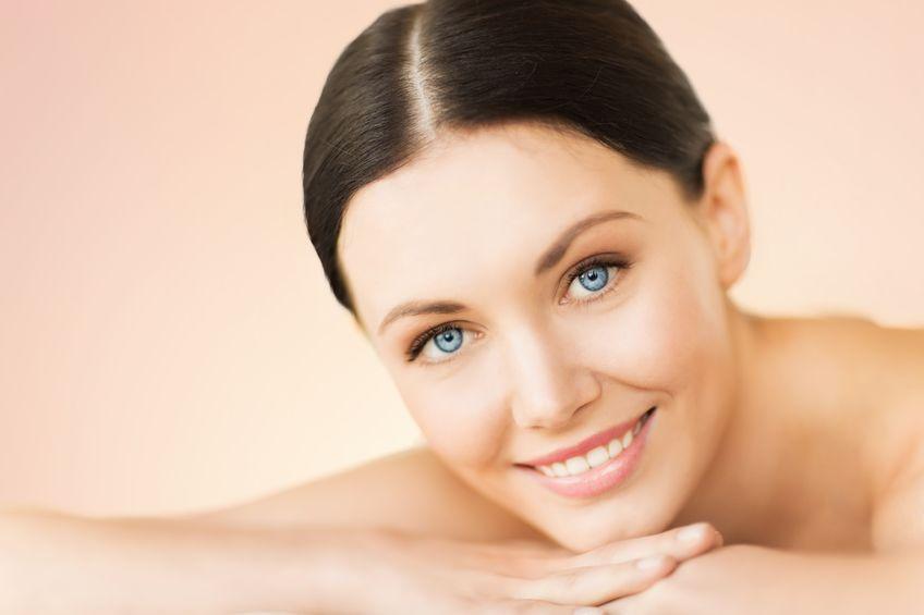 Blue eyes girl smiling