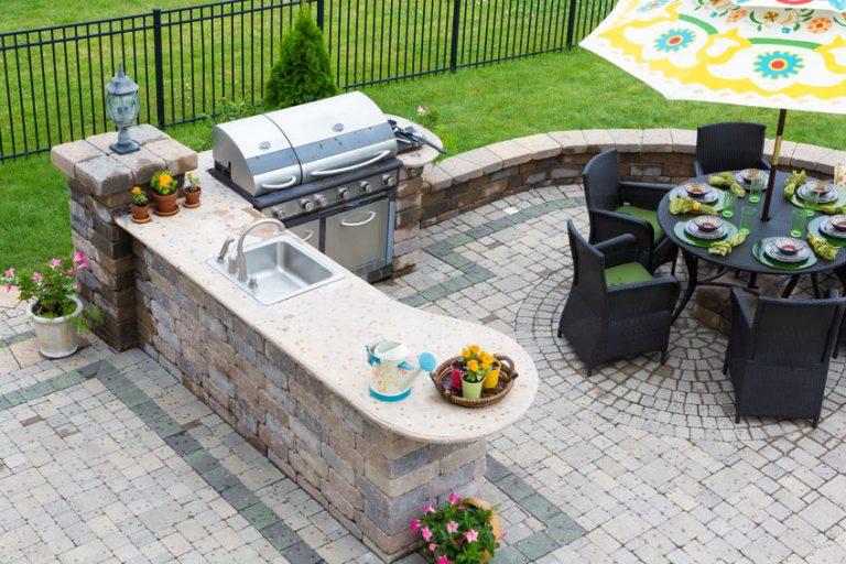 garden with a barbecue