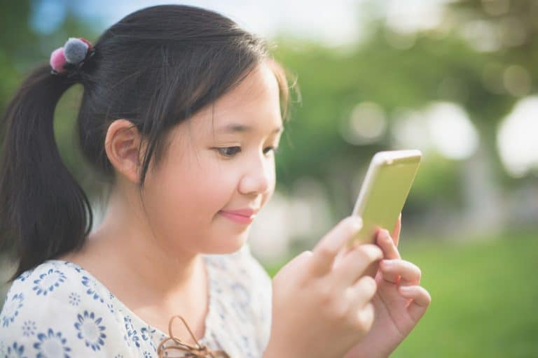 Girl looking a phone