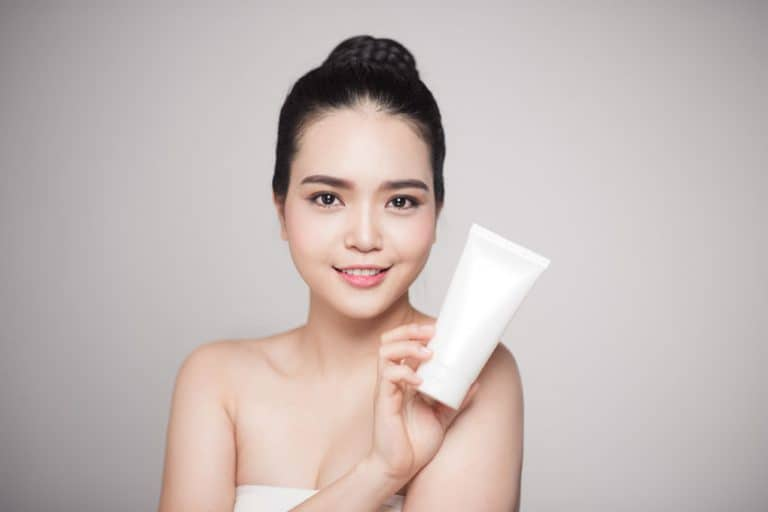 girl with an acne treatment