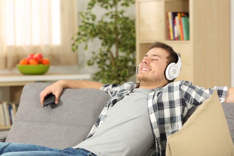 relaxed man listen music