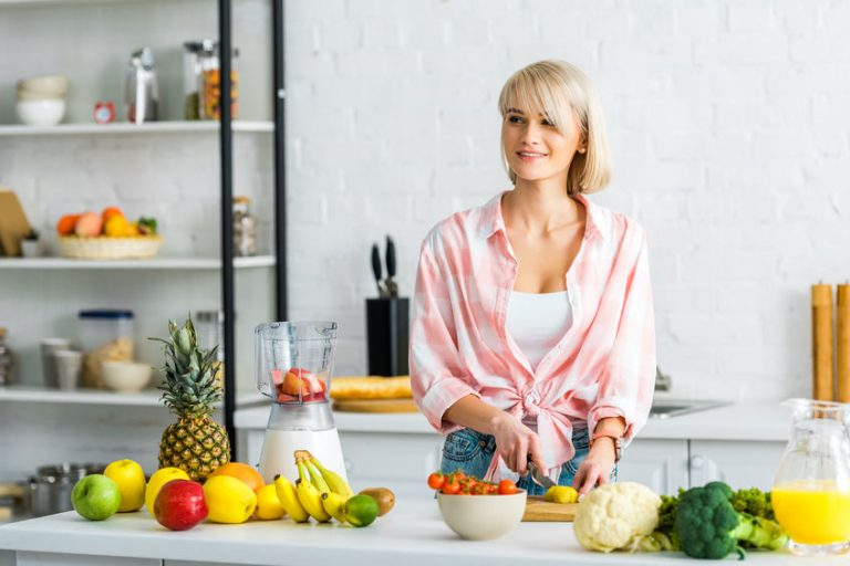 healthy girl in the kitchen