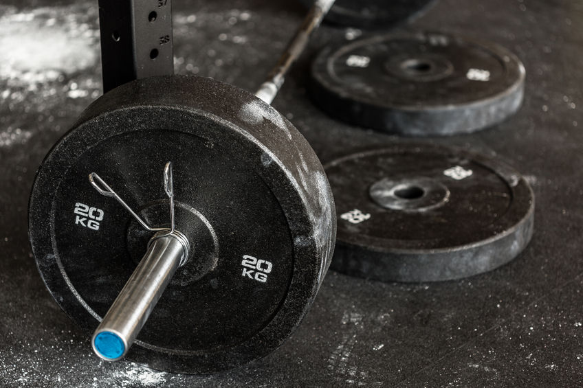 Close-up of barbell