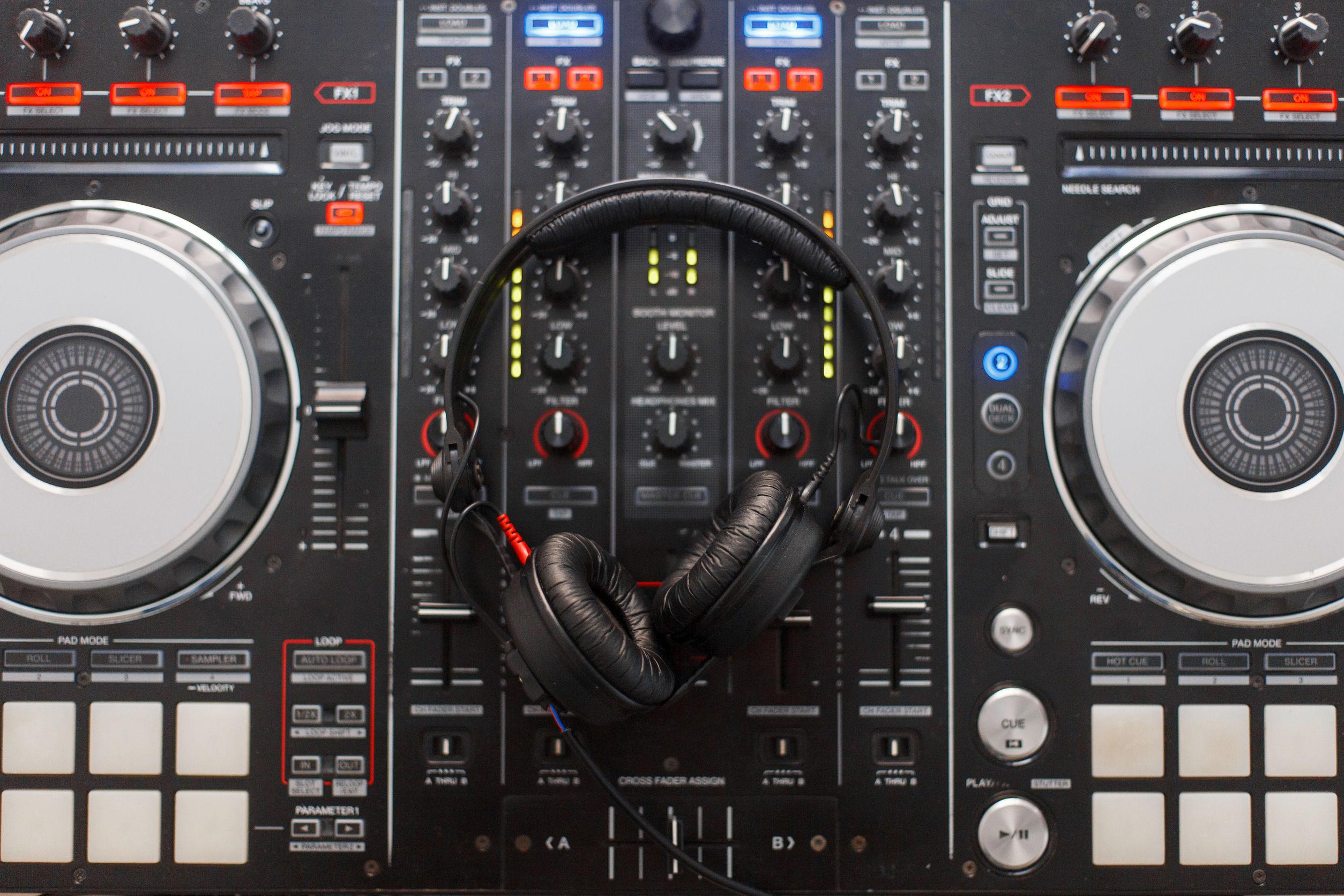 Headphones on a Dj mixer