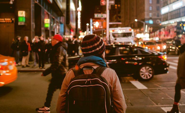 boy in a big city