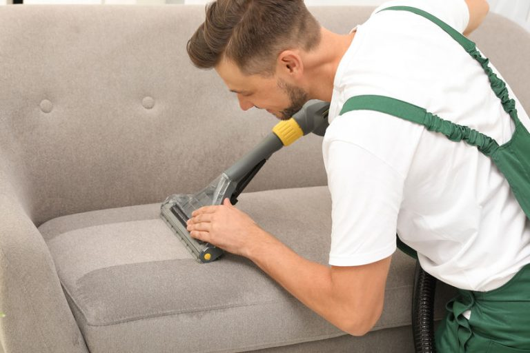 cleaning a sofa with steam