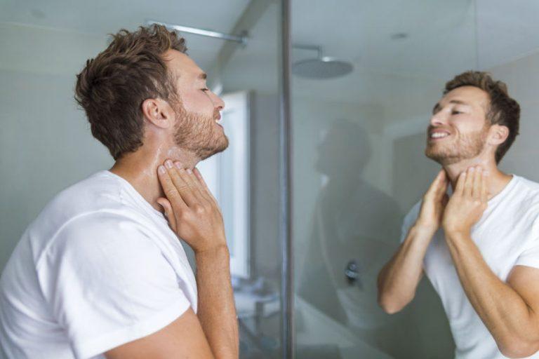 applying shave cream