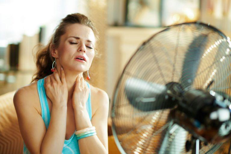 a woman in fron a fan