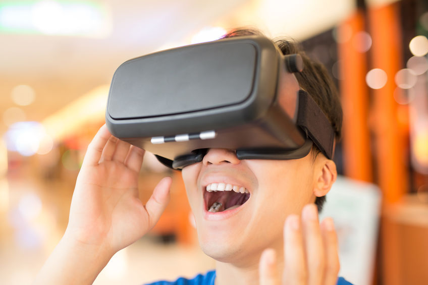 man wear virtual reality headset