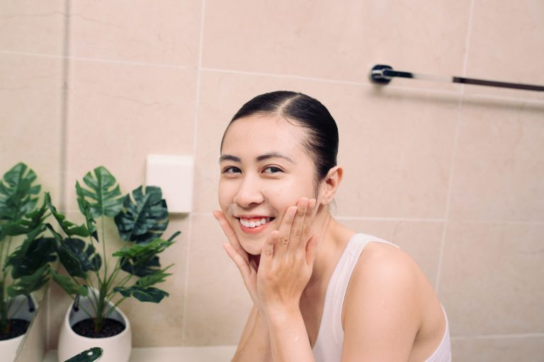 girl in her bathroom