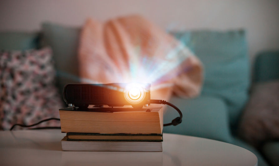projector on books