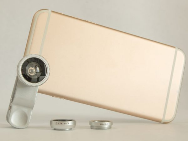 Fisheye macro set for mobile phone white background
