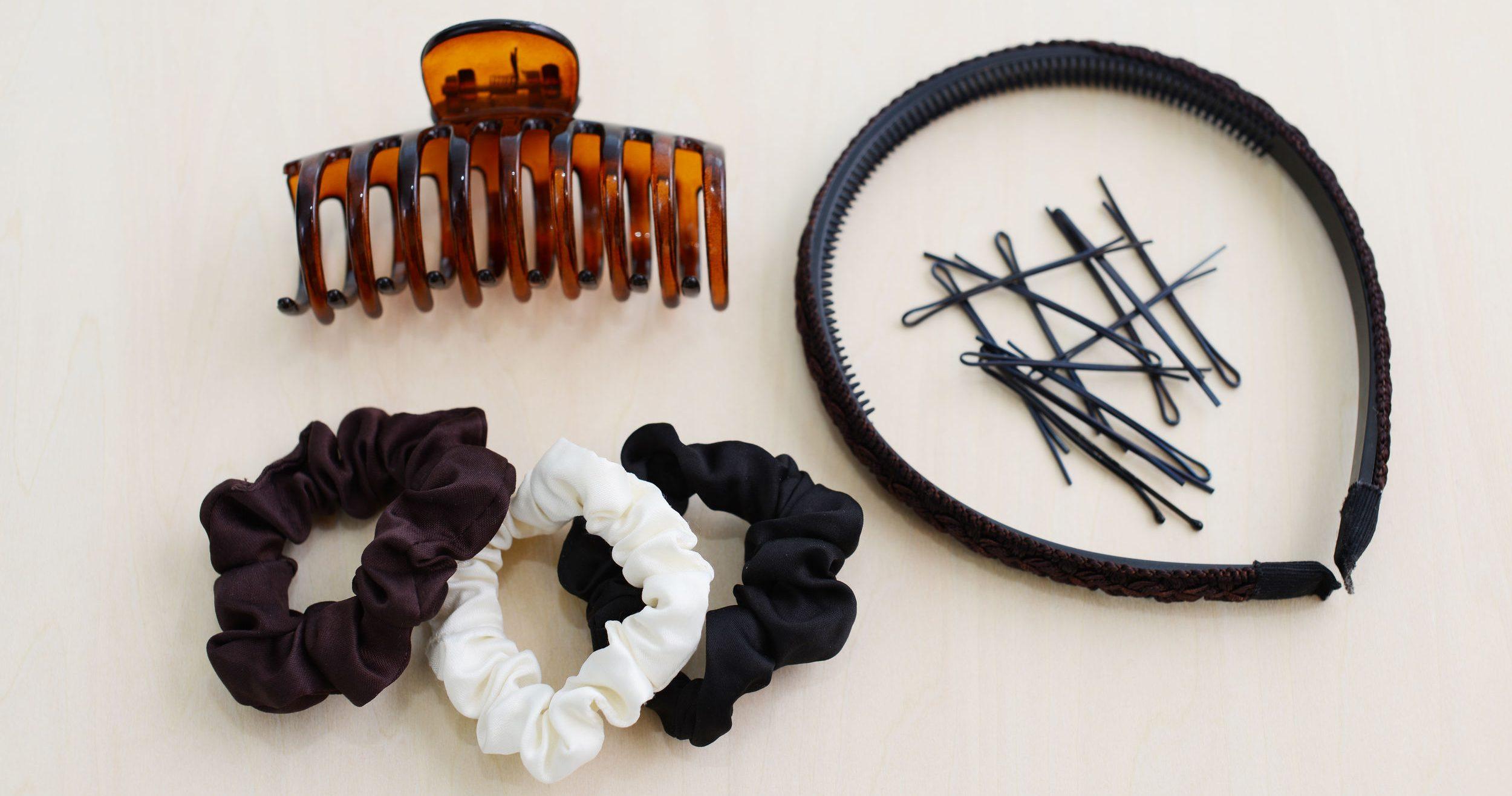 diferentes acessórios para o cabelo