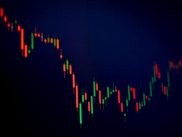 candlestick chart with black background, red & green color candlestick