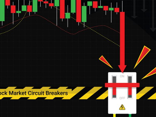 Circuit breakers function concept, stop trading to prevent stock market crashes, Graph and chart equity price fall down to circuit breaker device and warning line, Flat vector illustration