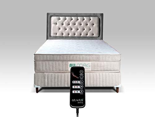 Colchão Magnético Com Controle e Massageador + Base Box + Cabeceira Completo Casal (BEGE CLARO CABEC. CINZA)