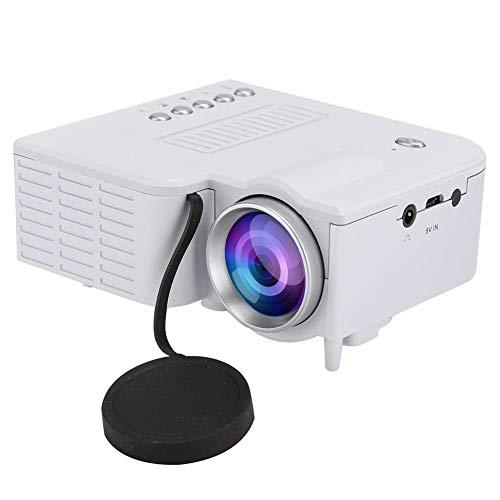Mini projetor, projetor de vídeo LCD TFT 1080p HD portátil 1920 x 1080 Home Theater, reprodutor de filmes multimídia com interface de entrada USB/TF e interface de saída de fone de ouvido para viagens de pátio (branco)