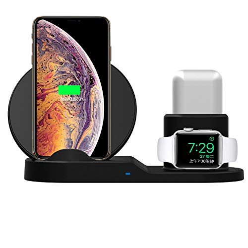 Base Dock Carregador sem fio 3 em 1 para Apple iWatch 1 2 3 gerações, estação de carregamento para Airpods, estação de carregamento sem fio rápida Qi para iPhone X / 8/7 / 6s Plus Samsung S8 e outros dispositivos habilitados para Qi