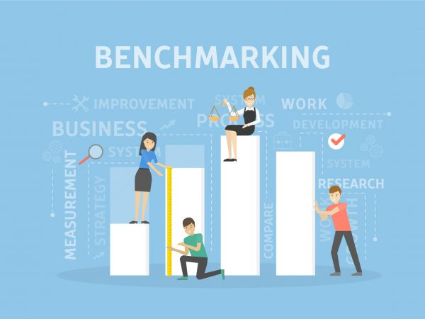Benchmarking concept illustration. Idea of development, improvement and business.