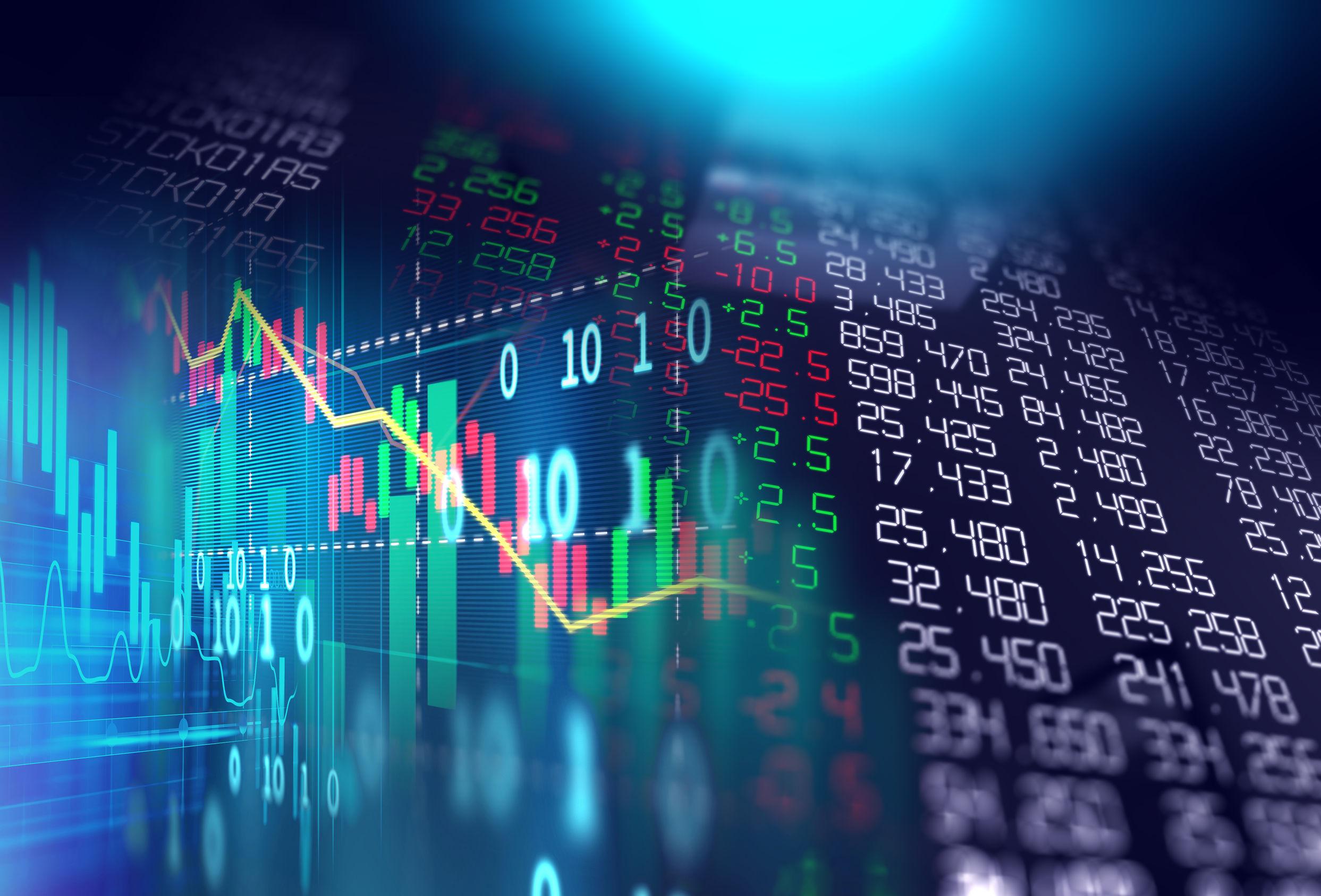 A imagem é de uma ilustração da Bolsa, com vários números e gráficos